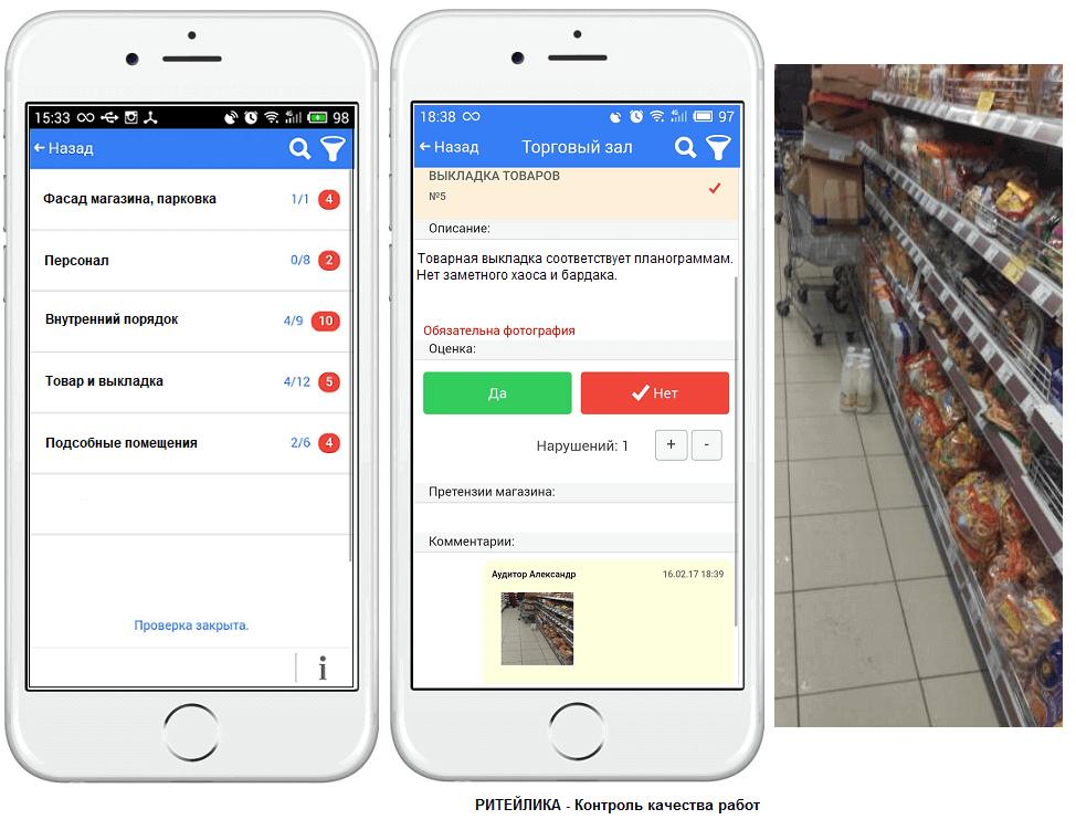 Электронный чек лист на мобильном устройстве в сервисе Ритейлика